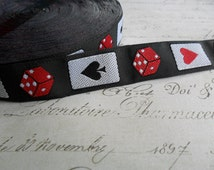 "Lady Luck Black Dice and Cards 3/4"" woven Ribbon Trim"