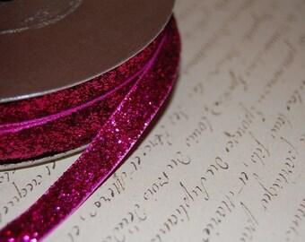 3/8 Hot Raspberry Pink Metallic Velvet Ribbon