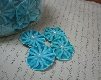 Pleated Velvet Flower Blooms with pearl centers Aquamarine