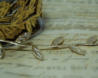 metallic gold Trailing Vine of Leaves Ribbon Trim