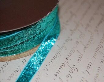 Aqua Metallic Velvet Ribbon 3/8 wide