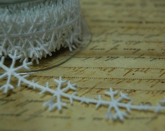 White Satin Snowflake Winter Ribbon Trim
