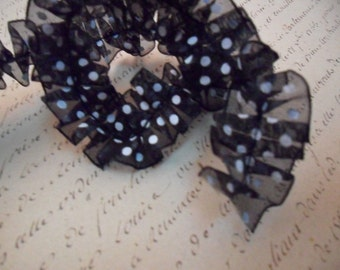 Black and White Polka Dot Organdy Ruffle Trim