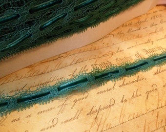 Jade Green scalloped lace with velvet ribbon trim