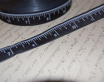 One Half Inch Wide Black and White Measuring Tape Ribbon Trim