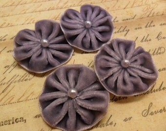 Pleated Velvet Flower Blooms with pearl centers Pewter Gray