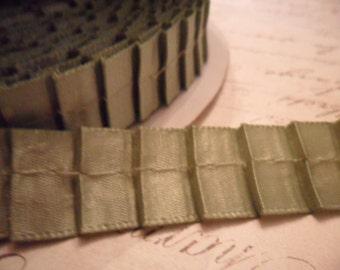 5/8 Silvered Sage Pleated Satin Ribbon Trim