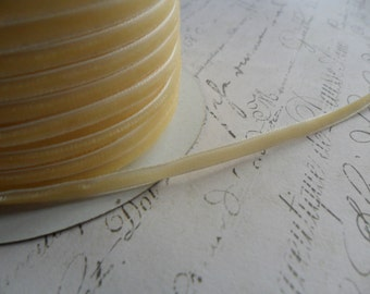Buttercream  Velvet Ribbon 1/8 wide