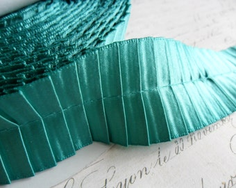 1.5 inch Teal Pleated Satin Ribbon Trim