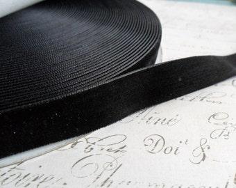 1.5  inch Raven Black Velvet Ribbon