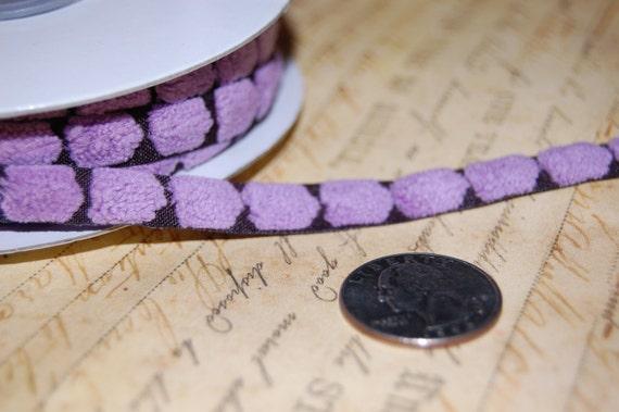 Lavender Chenille Dots on Violet 3/8 wide ribbon