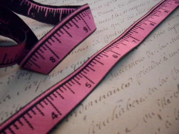 One Half Inch Wide Pink and Black Measuring Tape Ribbon Trim