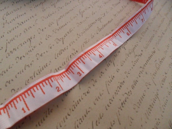 One Half Inch Wide Red and White Measuring Tape Ribbon Trim
