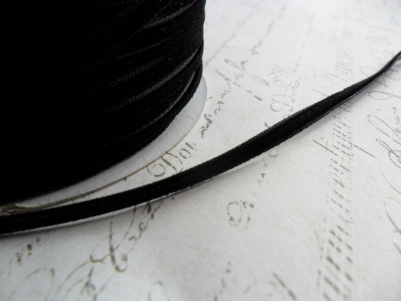 1/8 inch wide Raven Black Velvet Ribbon