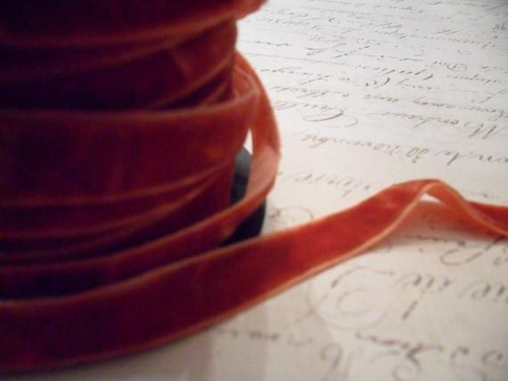 Spiced Pumpkin Crushed Velvet Ribbon 3/8 wide