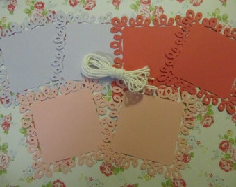 Colored Swirl Loop Square Paper Doily Tags