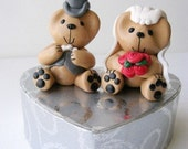 Wedding Bears.Cake topper\/ Keepsake. Bride and groom Joybears with pink roses
