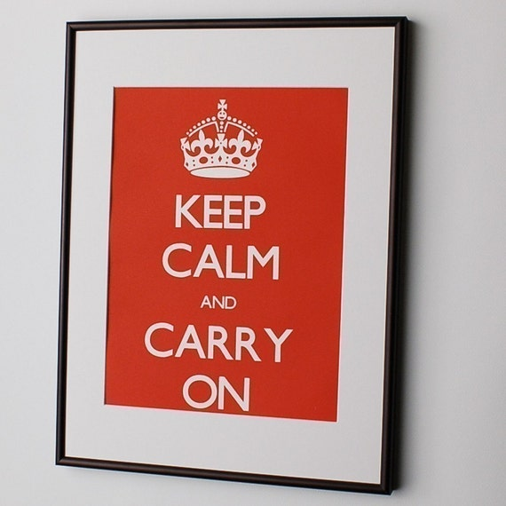 Keep Calm and Carry On Screen Print Poster in Classic Red