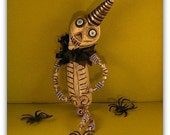 Party Skelly Poseable Ornament Halloween skeleton OOAK sculpted by Dani