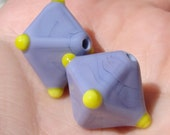 SALE - Purple and Yellow lampwork crystals - earring pair