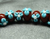 Blueberries and Chocolate floral spacers - 8 handmade lampwork beads