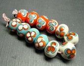 Hawaiian Brights floral set - 12 handmade lampwork beads