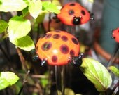Lady Bug Plant Sticks Hand Sculpted by Jenn Goodale