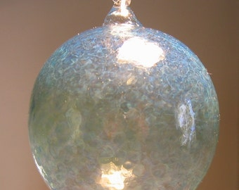 Large Irrid Flameworked Glass Ornament Hand Blown and Sculpted by Jenn Goodale