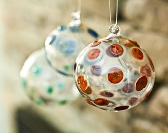 Small Dotted Flameworked Glass Ornament Hand Blown and Sculpted by Jenn Goodale