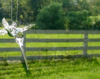 Green Glass Hanging Hummingbird Flameworked by Jenn Goodale