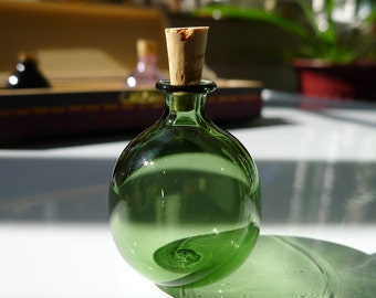 Small Green Glass Bottle with Cork Hand Blown by Jenn Goodale