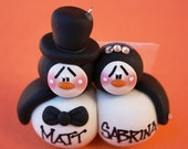 Personalized Penguin Wedding Couple Clay Christmas Ornament