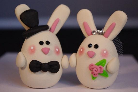 Custom Clay Bunny Wedding Cake Topper