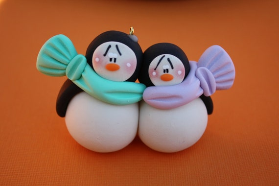 Christmas Decorations Made From Clay : Items similar to personalized penguin couple clay