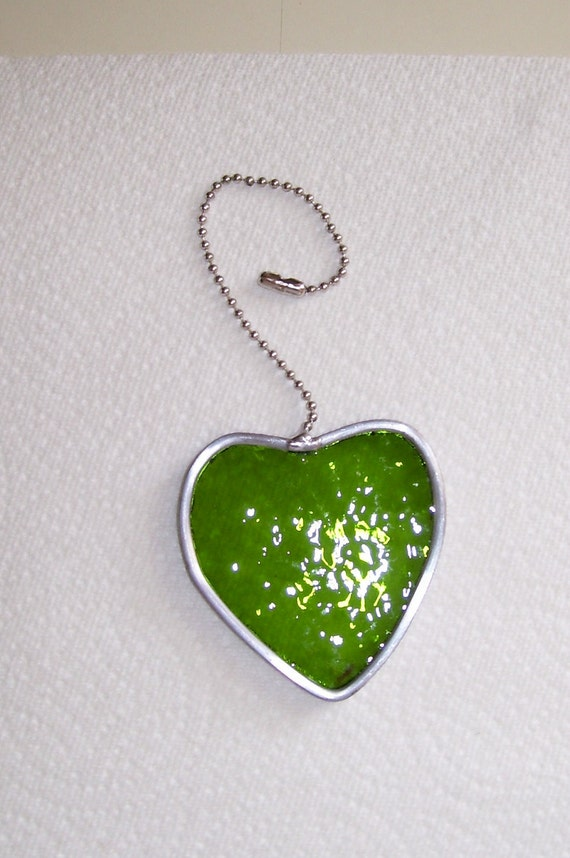 Fan Pull - Green Textured glass heart