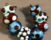 Jamocha Blues - Petite Lampwork Beads - Dot Design
