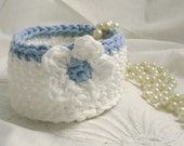 Cotton Bowl in Pure White and Blue with Flower - jewelry holder, money cache, key keeper