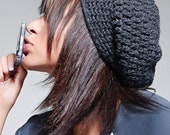 Slouchy Beanie in Charcoal Gray Heather