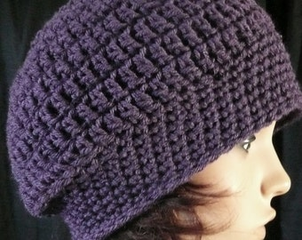 Slouchy Beanie in Purple Eggplant
