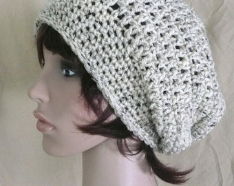 Super Slouch Beanie in Oatmeal, Beige Tweed