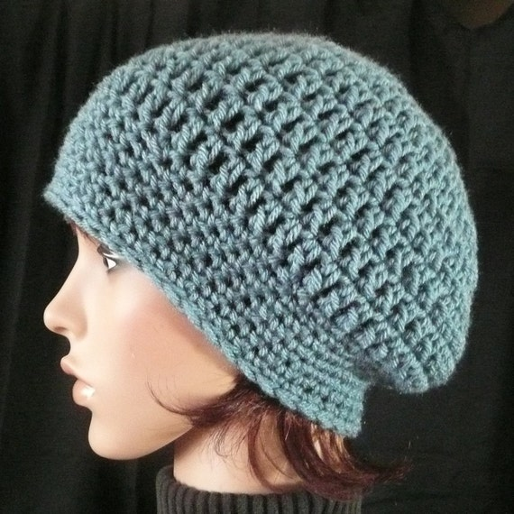 Slouchy Beanie in Antique Blue