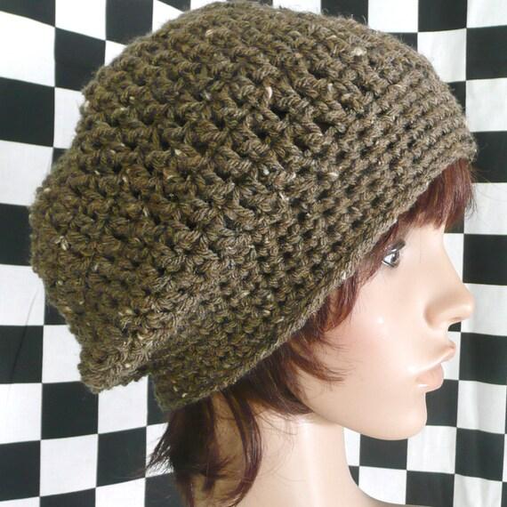 Slouchy Beanie Hat in Brown Barley Tweed