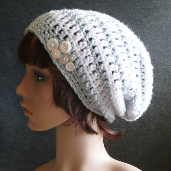 Newcastle Slouch in Ice Blue and White Stripes - Crochet