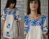 BLUE EMBROIDERY floral embroidered VINTAGE 70s 80s Oaxacan MEXICAN BOHO shift mini TENT DRESS beige bohemian os One Size xs s m l AQUA royal Blue BELL SLEEVE