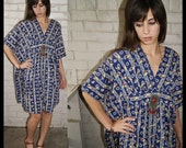 BOHO CHIC Vintage 60s 70s CALICO FLORAL Caftan coccoon draped TENT DRESS navy blue red green yellow white Print COTTON one size fits most s m l xl 1960s 1970s CLASSIC HIPPIE CHIC