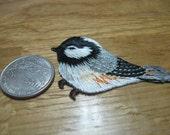 Chickadee bird iron on patch