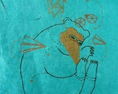 Origami Bear Aqua Rice Paper Gocco limited edition print by benconservato