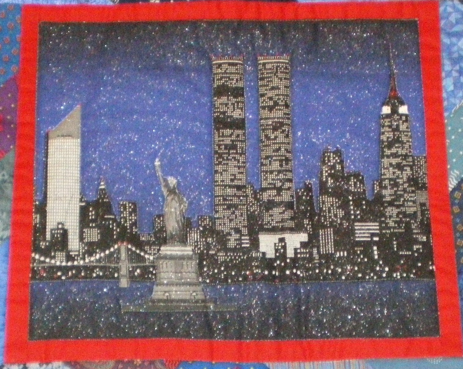 Pre 9 11 Manhattan Skyline Quilt Wall Hanging By Darlaparlor