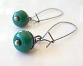 Drop of Color Earrings in Emerald Green