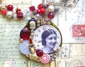 Steampunk Watch Handmade Necklace-Statement Handmade Collage Eco Friendly Necklace-Bohemian- Collage Beaded Necklace-Elania In Red